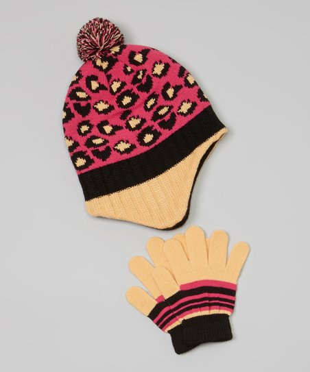 Pink & Yellow Leopard Earflap Beanie & Gloves
