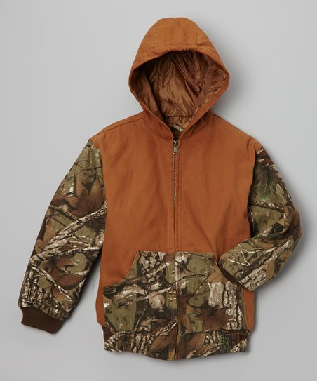 Brown Camo Hooded Jacket - Toddler & Boys