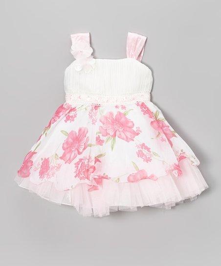 White & Pink Floral Tulle Dress - Infant