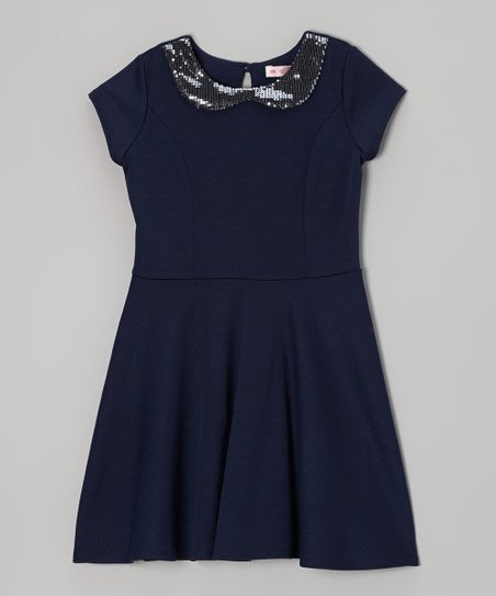 Navy & Gunmetal Sequin Peter Pan Collar Dress