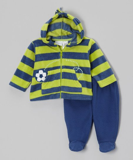 Green & Navy Zip-Up Hoodie & Footie Pants - Infant