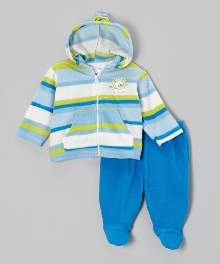 Blue Stripe Zip-Up Hoodie & Footie Pants - Infant