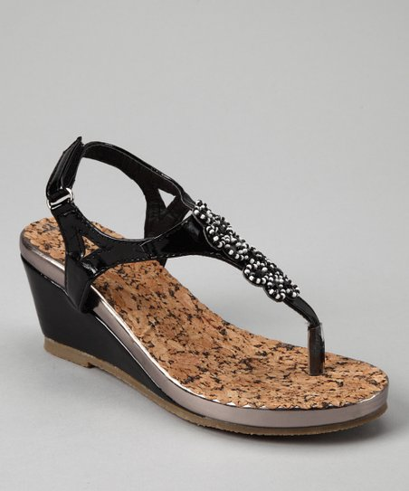 Black & Silver Patent Beaded T-Strap Wedge