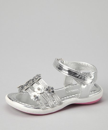 Silver Three-Strap Sandal
