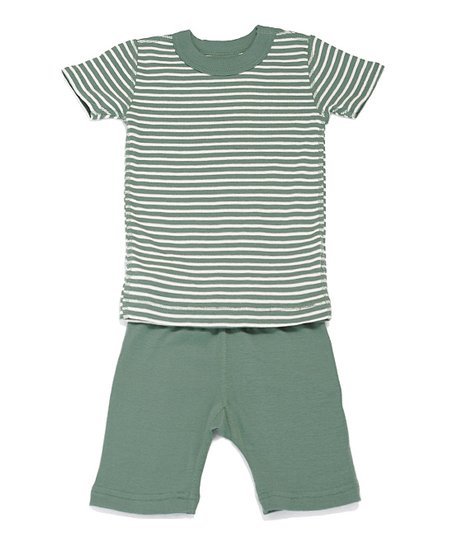 Moss & Cream Stripe Organic Pajama Set - Infant & Boys