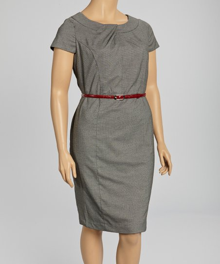 Gray Belted Cap-Sleeve Dress - Plus