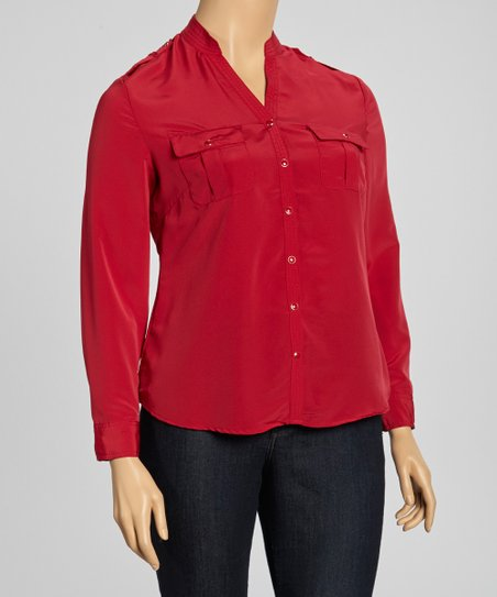 Wine Mandarin Collar Top - Plus