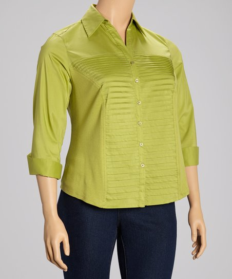 Moss Pleated Three Quarter-Sleeve Button-Up - Plus