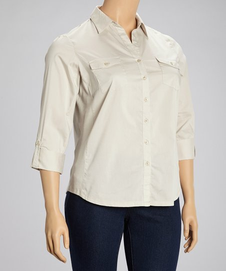 Peyote Flap Pocket Three Quarter-Sleeve Button-Up - Plus