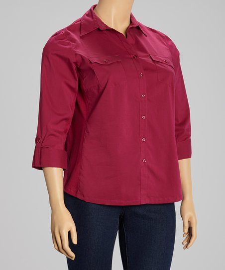 Wine Berry Flap Pocket Three Quarter-Sleeve Button-Up - Plus