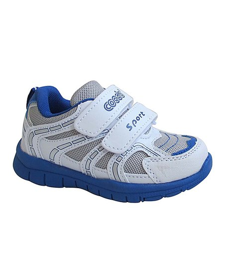 White & Blue Double-Strap Running Shoe