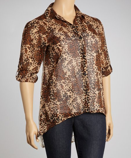 Brown Animal Lace-Back Button-Up - Plus