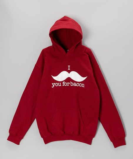 Cardinal Red Mustache Hoodie - Kids & Adults