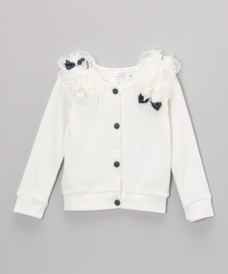 White Polka Dot Epaulet Top - Toddler & Girls