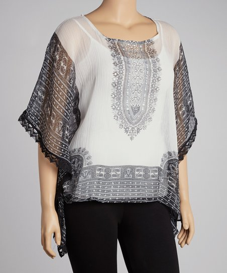 White & Black Tapestry Tunic - Plus