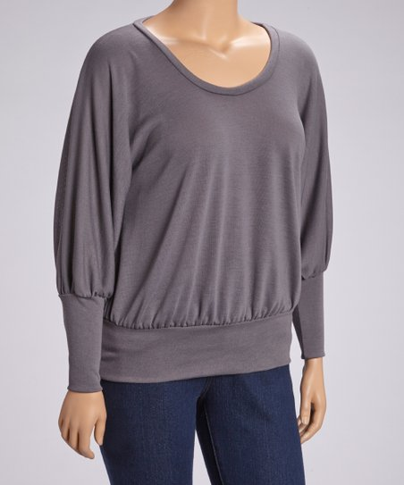 Charcoal Scoop Neck Dolman Top - Plus
