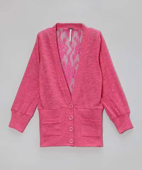 Pink Heather Lace-Back Cardigan