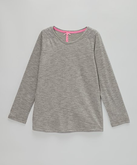 Gray Heather & Fusion Pink Lace Tee