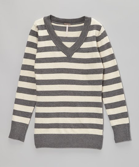 Oatmeal Heather Stripe V-Neck Sweater