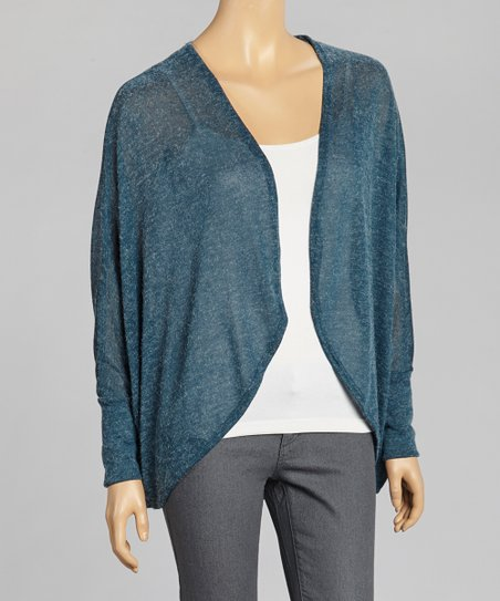 Teal Dolman Open-Cardigan
