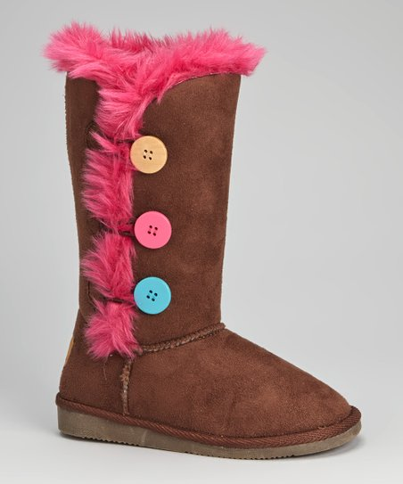 Brown Faux Fur Button Boot