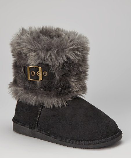 Black Faux Fur Buckle Boot