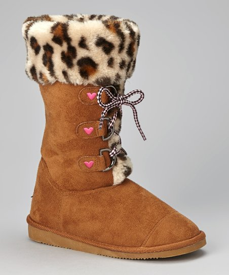 Dark Tan Leopard Faux Fur Boot