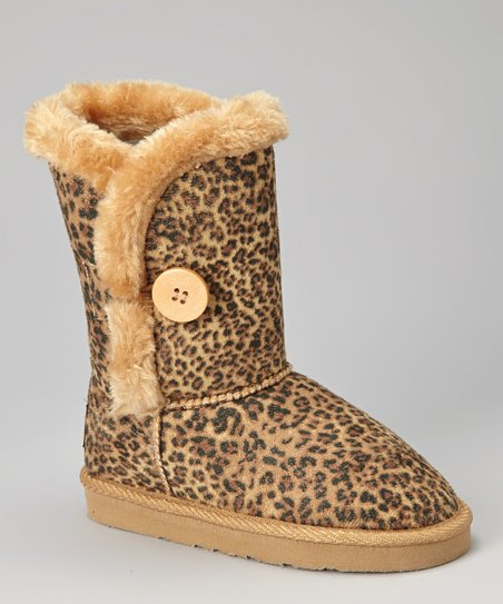 Leopard Faux Fur Button Boot