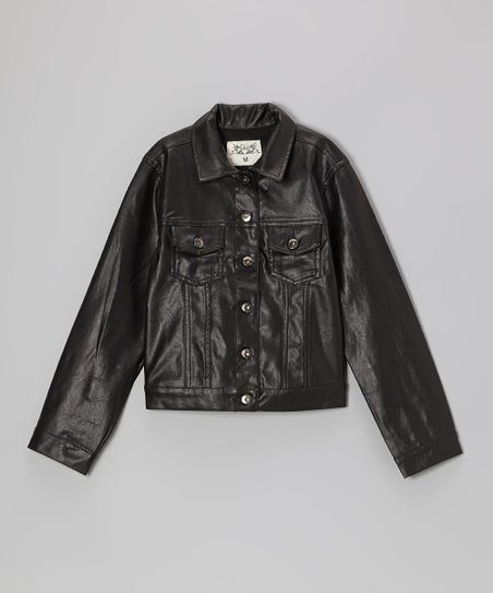 Black Pleather Button-Up Jacket