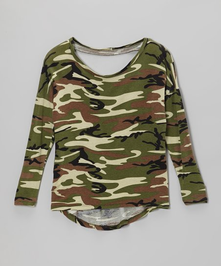 Camo Long-Sleeve Cutout Top