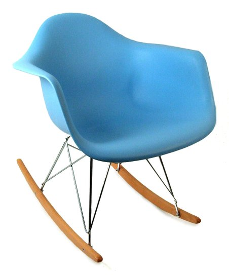 Blue Mid-Century Adult Rocking Chair