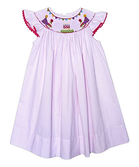 Pink Cake Angel-Sleeve Smocked Dress - Infant, Toddler & Girls