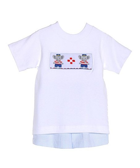 White & Blue Elephants Tee & Shorts - Infant & Toddler