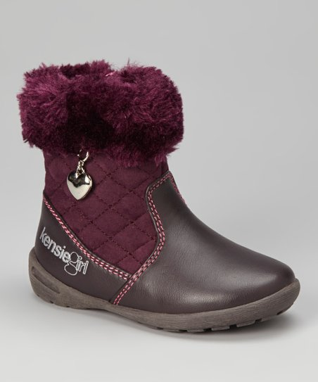 Purple Faux Fur Charm Boot