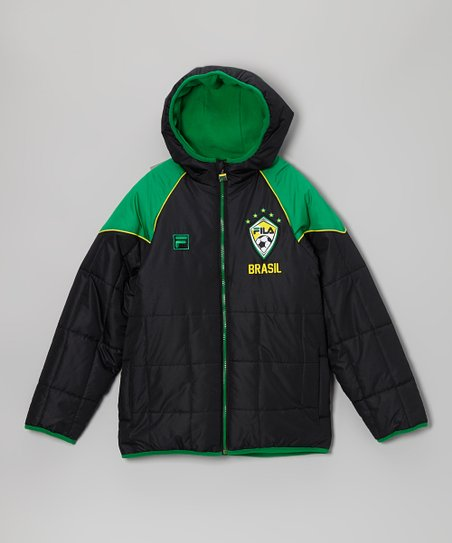 Green & Black 'Brasil' Puffer Coat - Boys