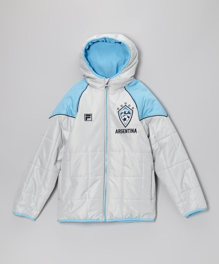 White & Blue 'Argentina' Puffer Coat - Boys