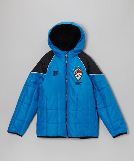Blue & Black 'Italy' Puffer Coat - Boys