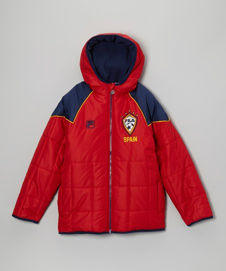 Red & Blue 'Spain' Puffer Coat - Boys