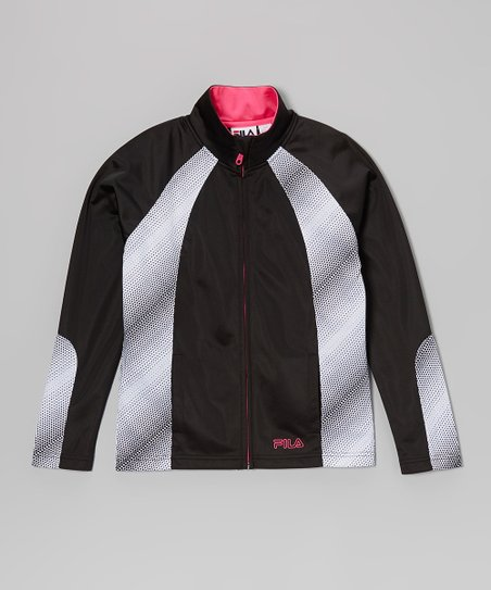 Anthracite & Bright White Track Jacket - Girls