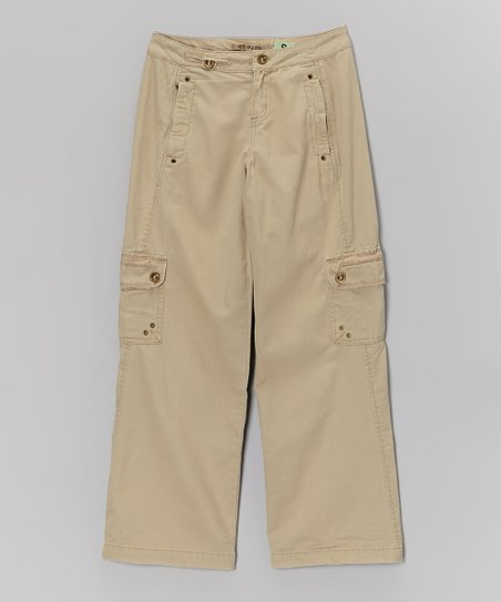 Tan Rivet Cargo Pants - Girls