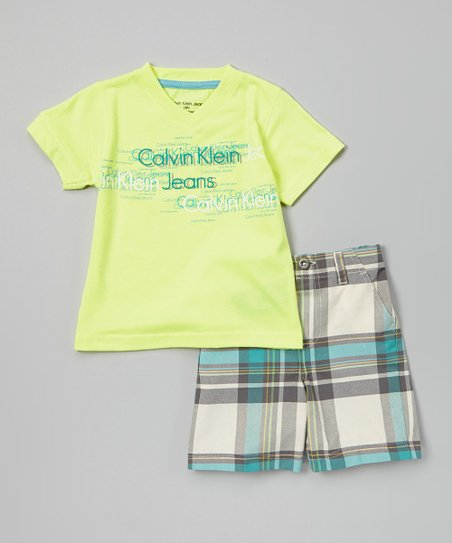 Yellow 'Calvin Klein Jeans' Tee & Shorts - Infant, Toddler & Boys