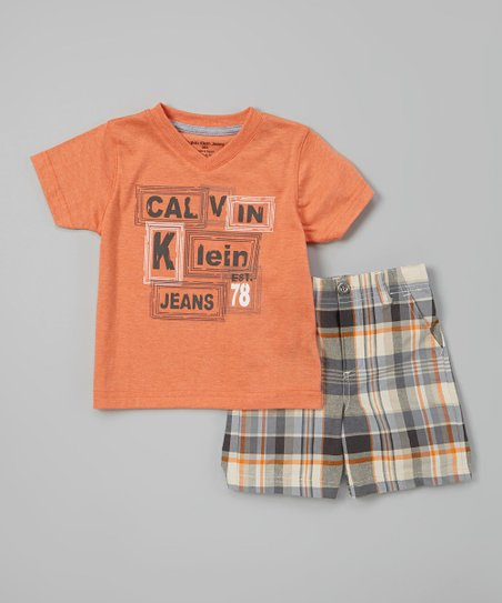 Orange 'Calvin Klein Jeans' Tee & Shorts - Infant, Toddler & Boys