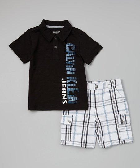 Black 'Calvin Klein Jeans' Polo & Shorts - Toddler & Boys