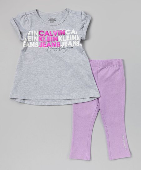 Gray & Purple Tunic & Leggings - Infant, Toddler & Girls