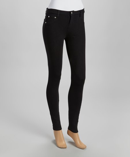 Black Five-Pocket Skinny Pants