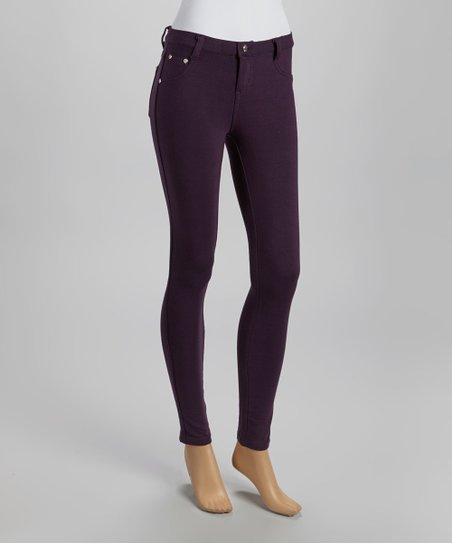 Eggplant Five-Pocket Skinny Pants