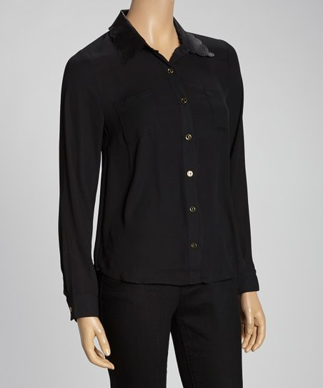 Black Scalloped Faux Leather Collar Button-Up
