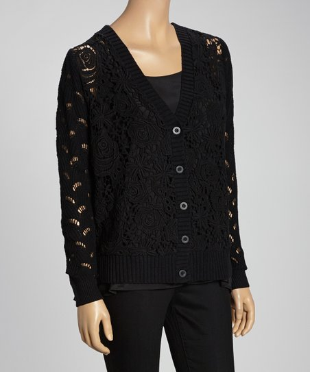 Black Floral Lace V-Neck Cardigan