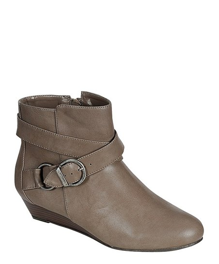 Taupe Buckle Wedge Bootie