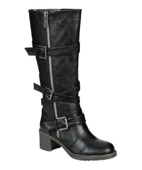 Black Buckle Biker Boot